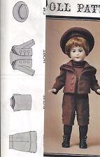 """14.5&17""""ANTIQUE SFBJ BOY SAILOR/MIDDY SUIT KNICKERS/PANTS JACKET HAT/CAP PATTERN"""