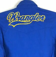 Vintage Wrangler Western Cowboy Shirt Mens S Button Up Cobalt Blue Spell Out