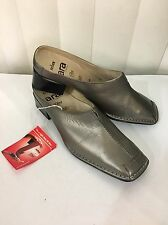 ARA Relax Salerno Pewter Leather Open Back Low Heel Soft Shoes Size 3G (US5.5 M)