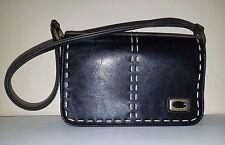 GUESS Mini Black Leather Shoulder Bag w/Contrast Stitching & Burnished Hardware