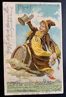 """AK Litho Prägekarte Gruss aus München """"Prosit"""" Emil Manner Verlag München 1901"""