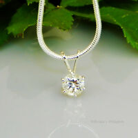 White Topaz Sterling Silver Pendant  w/ Snake Chain Necklace
