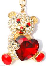 Red Heart Teddy Keyring Diamante Rhinestone Charm Ladies Bling Handbag K50560