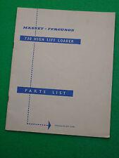 MASSEY FERGUSON 730 HIGH LIFT LOADER PARTS LIST (819 122 MI)