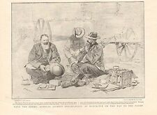 1900 ANTIQUE PRINT - BOER WAR-JOUBERT BREAKFASTING AT NEWCASTLE