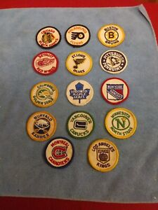 COMPLETE SET OF 14 - 1972 KRAFT FOODS NHL HOCKEY TEAM LOGO 2 INCH PATCHES