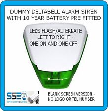 Dummy Alarm Siren Deltabell-Twin Flash Green LEDs 10yr Batt Fitted - BLANK COVER