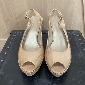 Stuart Weitzman Jean Platform Wedge Sandals Size 9.5 $398.00 Nude Peep Toe