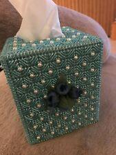 "New Handmade Cube Tissue Box Cover Aqua with pearls 5"" x 5"" x 5 1/2"""
