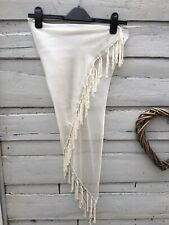 New Ivory Cream Sheer Tassel Beach Sarong Wrap Size 8-18