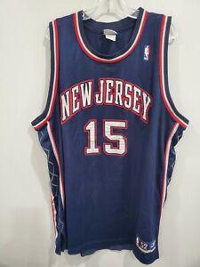Reebok Authentic NBA New Jersey Nets Vince Carter 15 Jersey Mens 52 2XL Sewn