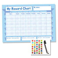 Reward Chart - Blue Reusuable Wipe Clean A4 - Chores Potty Train Sticker Star