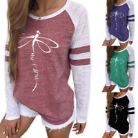 Women Printing Round Neck Tops Long Sleeve Casual Blouse Sweatshirt T-shirt US