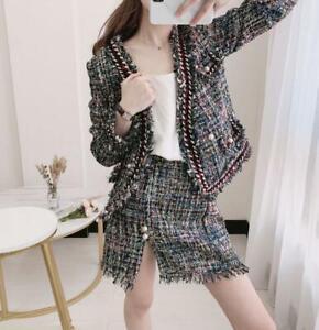 Womens Colors Knitting Wool Blend Weave Suit Dress Mini Skirts Coat Slim 2 Pcs