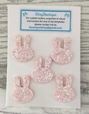 5 x Felt Glitter Pink Bunny Embellishments - Bows , Crafts , Earrings