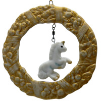 Unicorn Christmas Ornament Vintage Jasco Holiday Pendant Bisque Porcelain Wreath