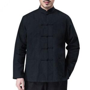 Men Chinese Kung Fu Tang Suit Shirt Martial Arts Uniform Frog Button Jacket