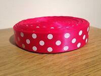 "Polka Dot Hot Pink Glitter Ribbon 1m Satin Ribbon 1"" 25mm Buy 3 Get 1 Free!"