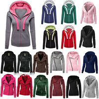 Women Zip Up Hoodie Fleece Jacket Plain Casual Hoodie Coat Sweatshirt Outwear