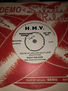"""RICKY NELSON Original  DEMO YOU'RE MY ONE AND ONLY LOVE - UK 7"""" HMV  1957 EX/+"""