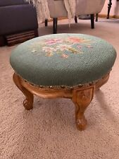 Vintage Green Floral Needlepoint Footstool Queen Anne Legs