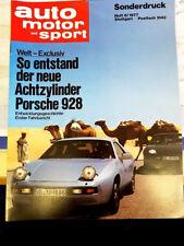 """AUTO MOTOR UND SPORT """" PORSCHE 928 ENTSTEHUNG """" SONDERDRUCK HEFT 6 / 1977"""