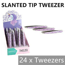 24 x SLANTED TWEEZERS Makeup Eyebrow Grooming Plucking Beauty Clip Tool BULK