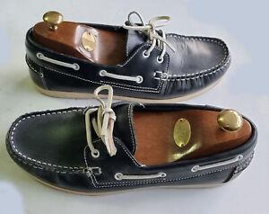 Men's TOPMAN Premium Vintage Navy Leather Boat/Deck Shoes EU 43 UK Size 9