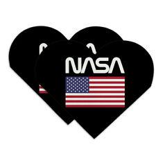 NASA Worm Logo United States Flag Heart Faux Leather Bookmark Set