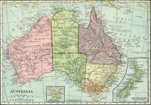 VINTAGE MAP AUSTRALIA * LARGE A3 SIZE QUALITY CANVAS PRINT
