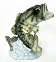 "Vintage 1988 Homco Masterpiece Porcelain Signed Figurine ""Large Mouth Bass Fish"""
