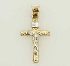 14K Real Yellow 2 Two Tone Gold Small Jesus Crucifix Stamped Cross Charm Pendant