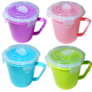 2 or 4 Pack Microwave Soup Snack Mugs Pot Containers Lunch Box Lid 600ml Pasta