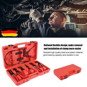 9x Schlauchschellen Clip Zangen Set Schwenkbacke Flachwinkelband Kfz Werkzeuge