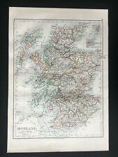 Antique Map Of Scotland 1892