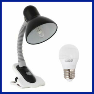 5W E27 LED Flexible Arm Clip on Clamp Study Desk Reading Black Table Lamp Switch