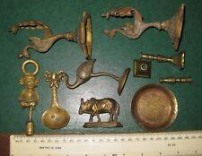 JOB LOT vintage SMALL BRASS items TEA CADDY SPOON, INDIAN COW, MONKEY, BIRDS etc