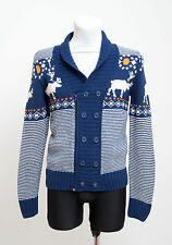 MENS GALLICE ZIP CARDIGAN NORDIC WOOL BLEND FAIR ISLE BLUE STRIPED S SMALL