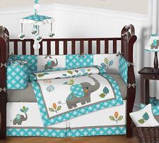 Turquoise Blue and Grey Sweet Jojo Jungle Elephant for Baby Crib Bedding Set