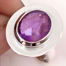 925 STERLING SILVER PURPLE AMETHYST RING- Cocktail, Oval, USA 5