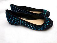 Carvela Kurt Geiger Black Suede Blue Studs Studded Flat Shoes Size 38 UK 5