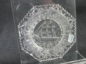 1830S CUP PLATE FLINT ROSE LEE 605A-V1 AT LEAST SCARCE SHIP OCTAGONAL CLEAR