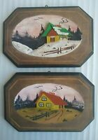 (2) Vintage Country Scene Carved Wood Hand Painted Wall Hanging Plaque Picture