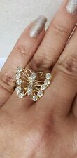 Big 14k yellow white gold butterfly ring size 8