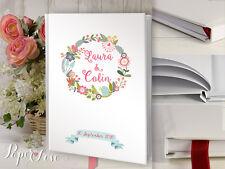 Boda Libro de visitas personalizado Rústico Boda Floral En Rosa, Flor Guirnalda De Flores