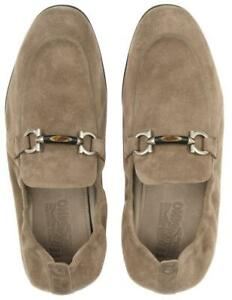 NEW SALVATORE FERRAGAMO CELSO TAUPE SUEDE GANCIO DETAILS LOAFERS SHOES 10 EEE