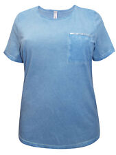 Sheego ladies t-shirt top plus size 18/20 22/24 26/28 30/32 blue sequin pocket