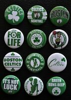 """Boston Celtics NBA Lot of 8 1 1//4/"""" Pinback Buttons or Kitchen Magnets !"""