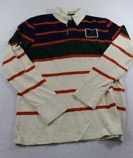 T0484 DOCKERS Herren Polo Shirt Orange Beige Blau Streifen Langarm Gr.M