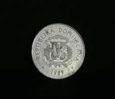 1989 25 Centavos Dominican Republic World Coin KM71.1 Oxen cart Native Caribbean